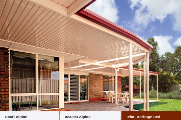 Heritage Red Flat Roof Angle - Outdoor Impressions